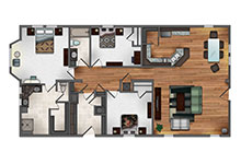 Valitalia Three Bedrooms Floor Plan Design
