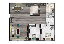 Valitalia Two Bedrooms Floor Plan Design