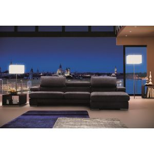 Opera Fabric Sectional Sofa with Chaise Longue