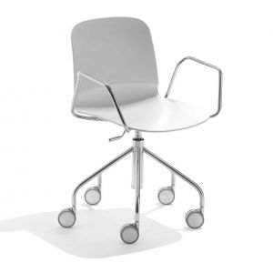 Trestle Chair with Wheels and Armrests Liù by Midj